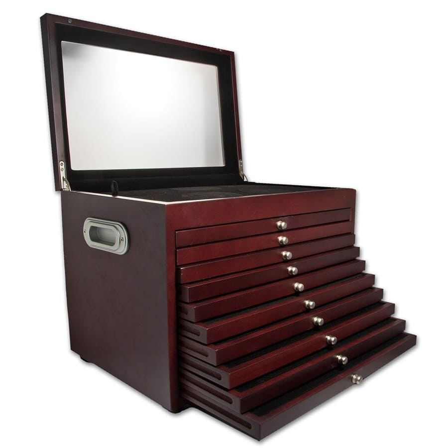 NEW! 10-Drawer Custom Wood Display Box for 56- Coin ATB Set
